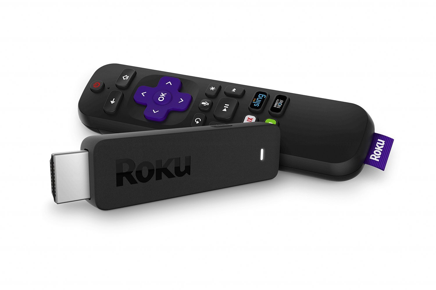Roku Streaming Stick | Portable, Power-Packed Player with Voice Remote with TV Power and Volume (2017) (Renewed) by Roku