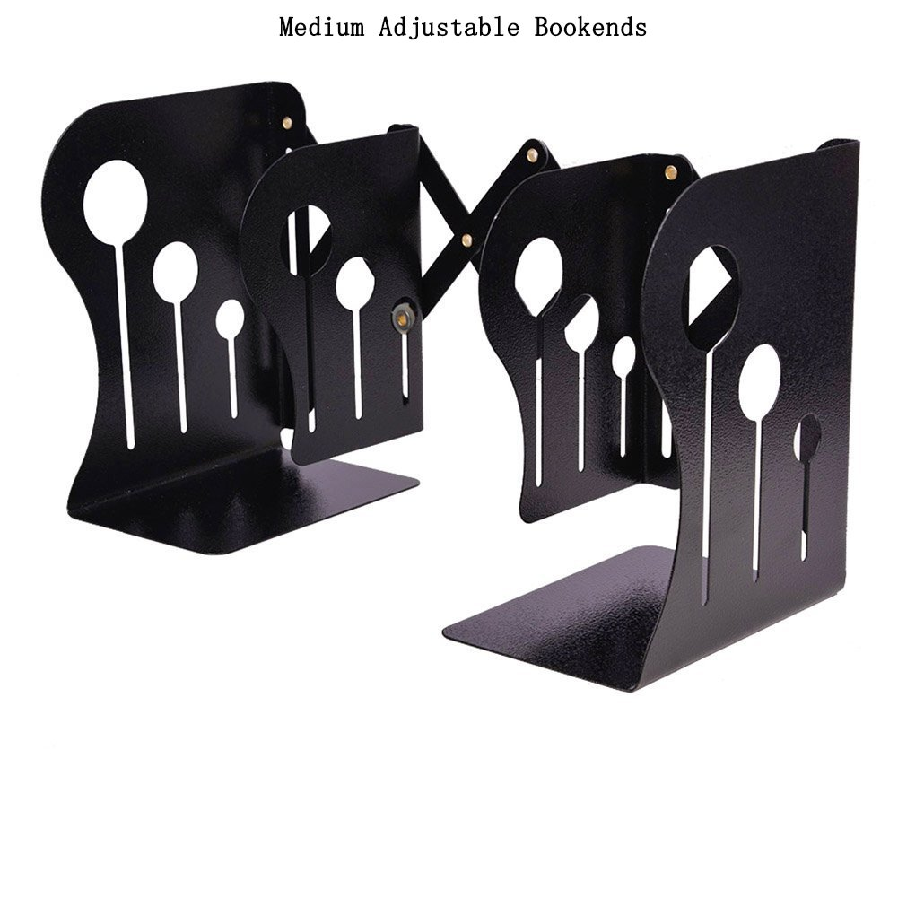 Y-H Medium Adjustable Decorative Metal Iron Bookends, 3 Grids Modern Reinforced Metal Non-Skid Bookends(Black)
