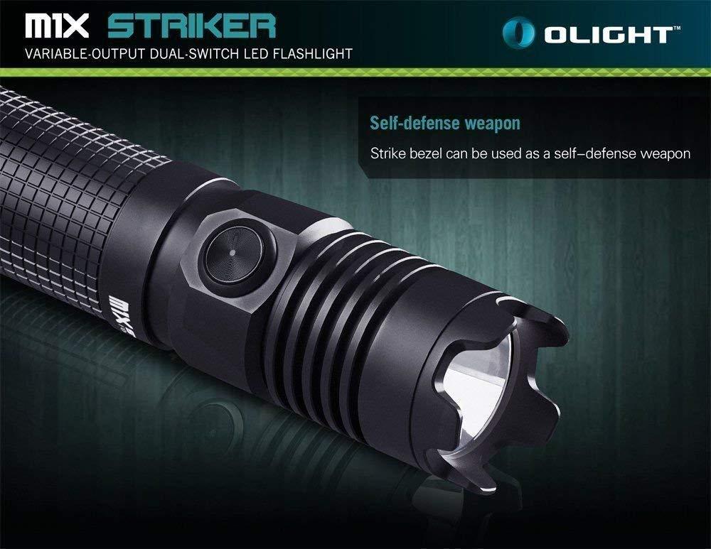 Olight M1X Striker Tattica Torcia 1000 lumen CREE XM-L2 LED Tattica Torcia Elettrica Doppio Interruttore Interruttore di Coda EDC Torce con 18650 3400mAh Ricaricabile Lone di Litio Batteria e Fondina
