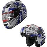 X4 Motorcycle Helmet Adult DOT Modular Flip up Full Face Sports Bike Snowmobile Helmet with Anti Fog Shield (316 White/Blue