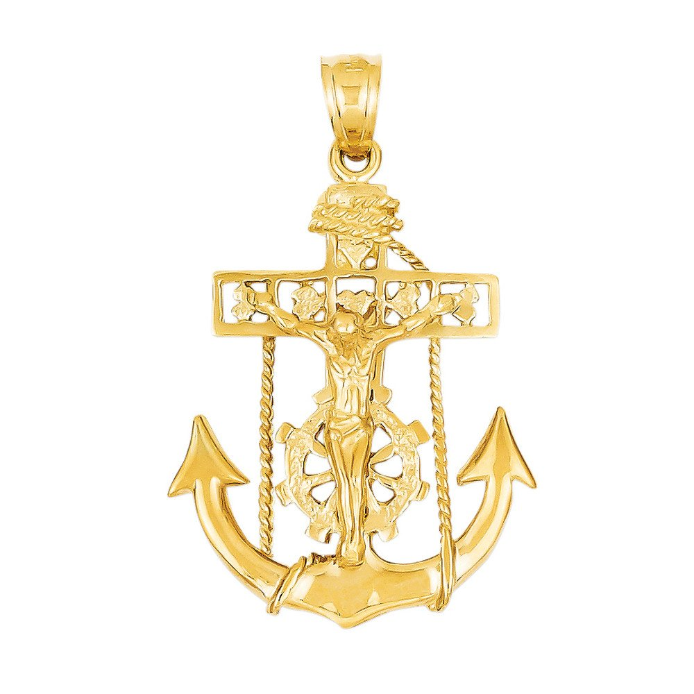 Men's Mariner Anchor Cross Pendant in 14K Gold by Apples of Gold Jewelry