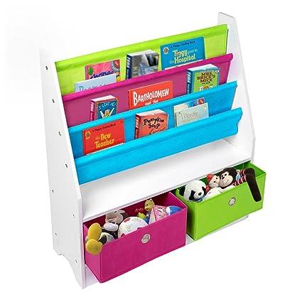 TOP-MAX – niños Kids Madera Sling estantería para libros estantería de almacenamiento 2 cajones