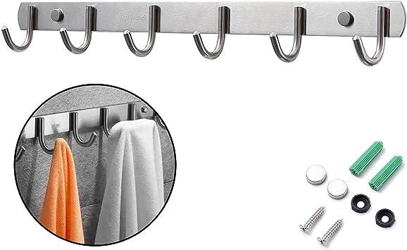 Hakenleiste Handtuchhalter mit 4//6//8 Haken aus EDELSTAHL Handtuchhaken Wandhaken f/ür Badezimmer K/üche Flur und Schlafzimmer innen//au/ßen Silber 6 Haken Ihomepark Bademantelhaken