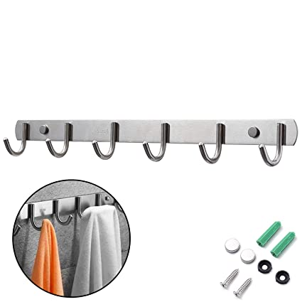 Perchero Pared, Ganchos Percheros de Pared de Montaje para Dormitorio Baño y Cocina, Perchas de Acero Inoxidable Engrosado Plata (6 Hook)