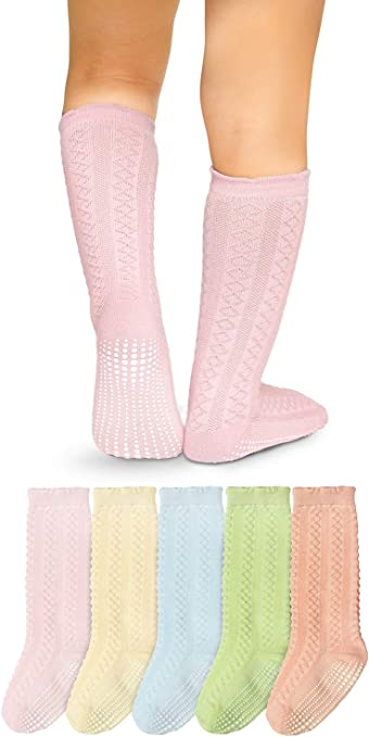 Baby Toddler Non Slip//Skid Cotton Details about  /La Active Knee High Grip Socks 5 Pairs