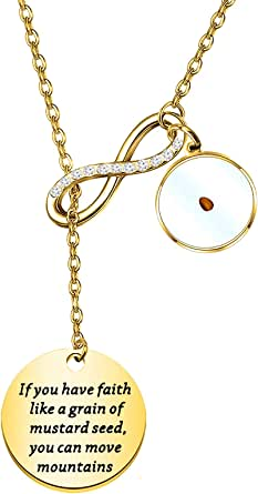 FAADBUK Christian Gift Mustard Seed Lariat Y Necklace If You Have Faith Like A Grain Of Mustard Seed You Can Move Mountains Jewelry Religious Inspirational Jewelry For Friend Family