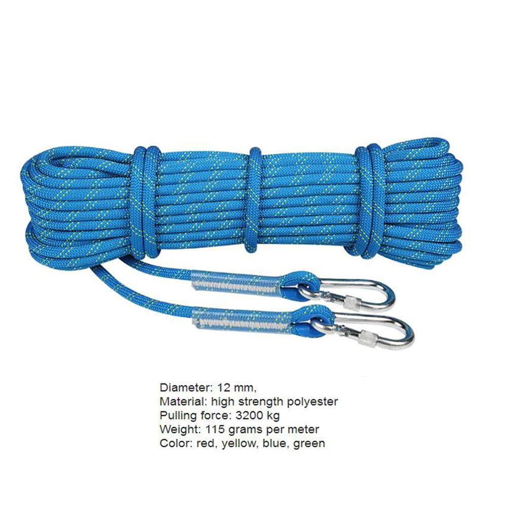bluee Diameter 12 mm 15 M Climbing rope Rock Climbing Rope Camping Rope 12mm, Outdoor Climbing Rope Safety Rope Lifeline Rope Equipment,Safety Durable Rappelling Rope With 2 Hooks Outdoor