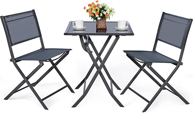 Giantex 3 Pcs Bistro Set Outdoor Bistro Table Set Folding Porch Furniture Metal Patio Dining Table And 2 Chairs 3 Pieces Portable Patio Bistro Set For Garden Backyard Lawn Garden Outdoor
