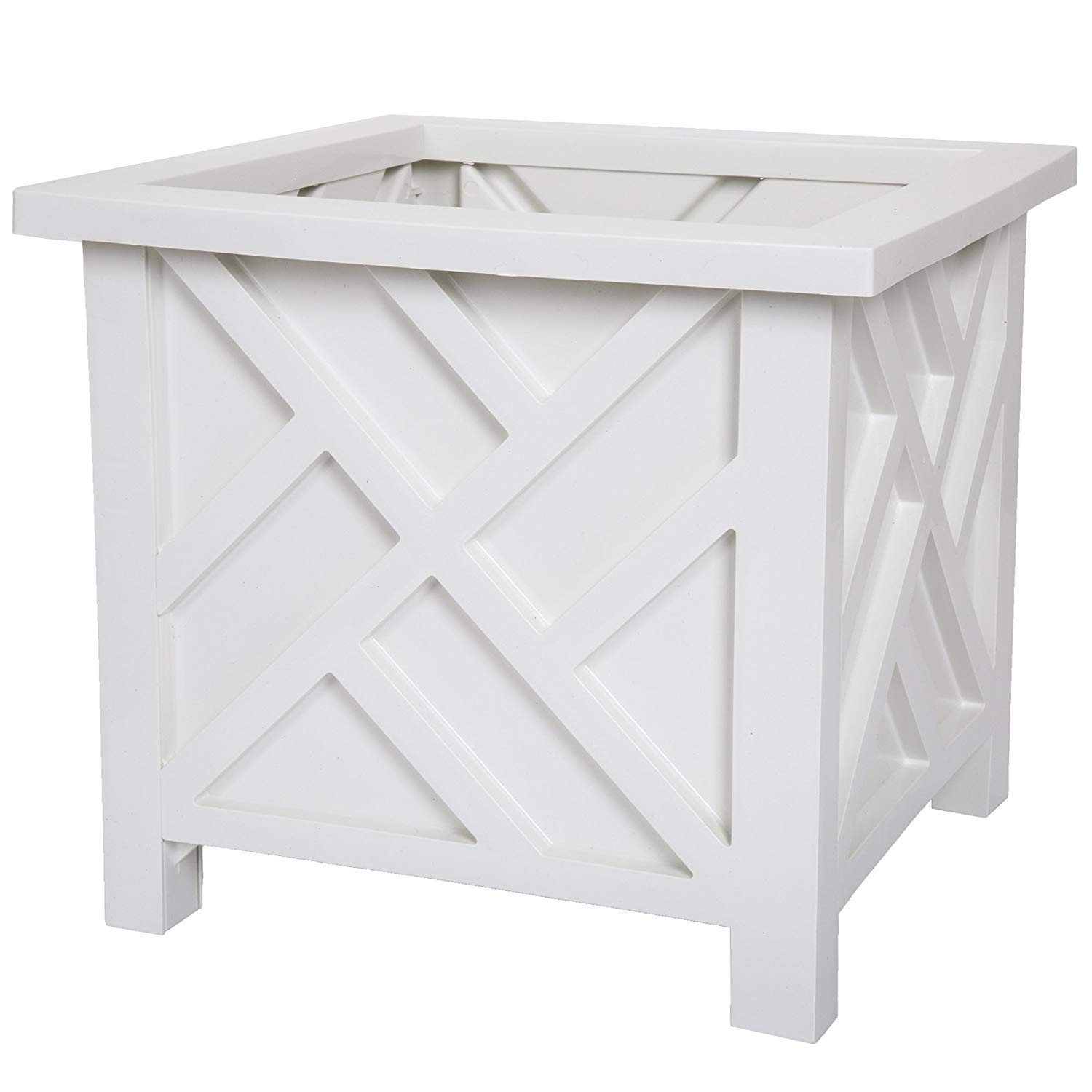 Pure Garden Plant Holder – Planter Container Box for Garden, Patio, and Lawn – Outdoor Decor by White (Pack of 2)