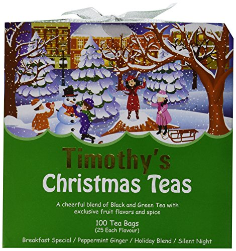 Timothy's Christmas Teas Holiday Blend Silent Night Peppermint Ginger Breakfast Special 100 Tea (Timothys Breakfast Blend Coffee)