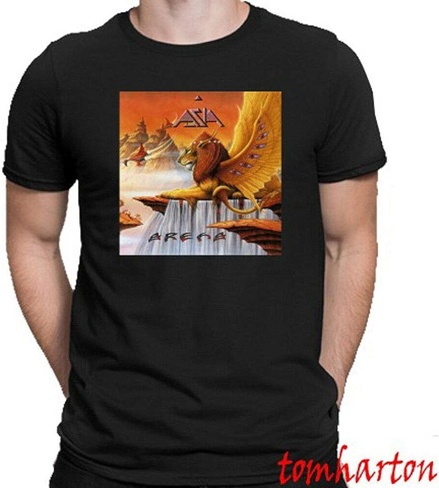 Asia Arena Logo Rock Band Camiseta Negra para Hombre: Amazon.es: Ropa y accesorios