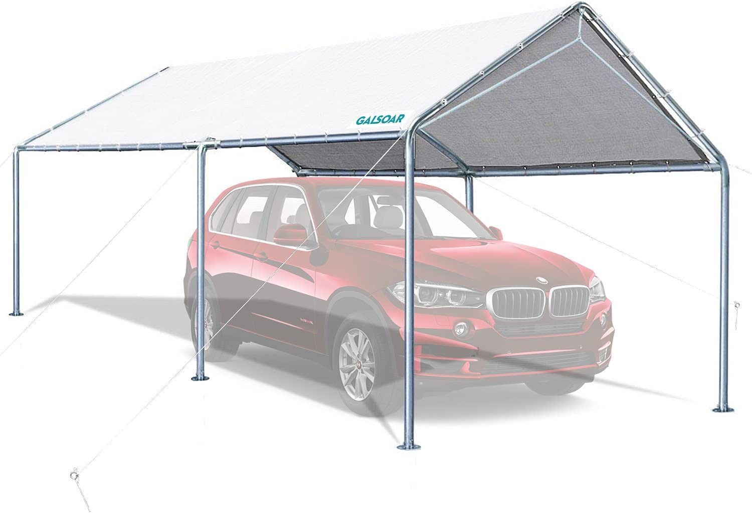 Carport, GALSOAR 10 x 20 ft Heavy Duty Car Canopy with 3 Reinforced Steel Cables for Snowy, Rainy Sunny Days, Rust Resistant Galvanized Steel Framework Car Tent, White