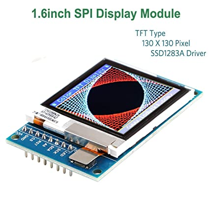 MakerHawk Arduino LCD 1 6inch SPI Display Module, Arduino LCD TFT Display,  130 X130 SPI LCD Screen, 3 3V 5V SSD1283A Driver for Arduino D1 Mini