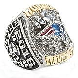 LANCHENEL Titanium Steel Mens 2016 New England Patriots Championship Rings,Size 13