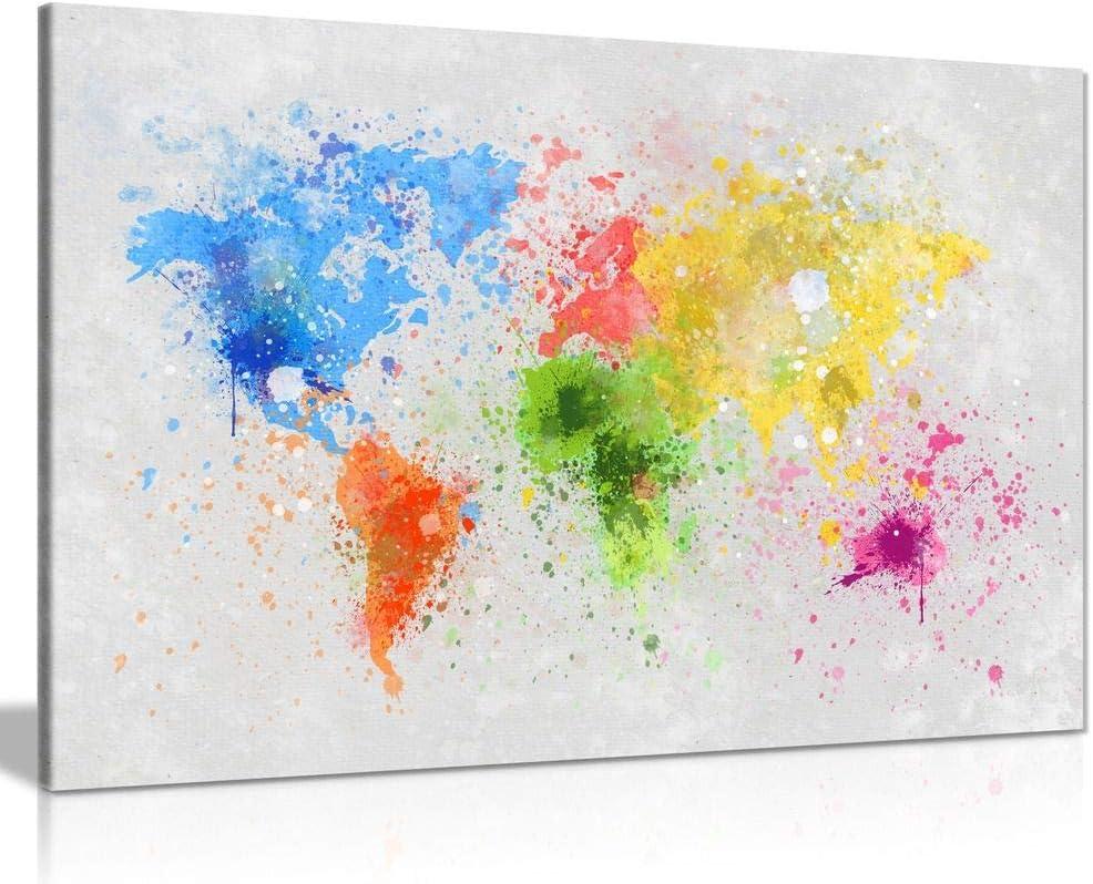 World Map For Kids Bedroom Box Framed CANVAS ART PRINT A0 A1 A2 A3 A4