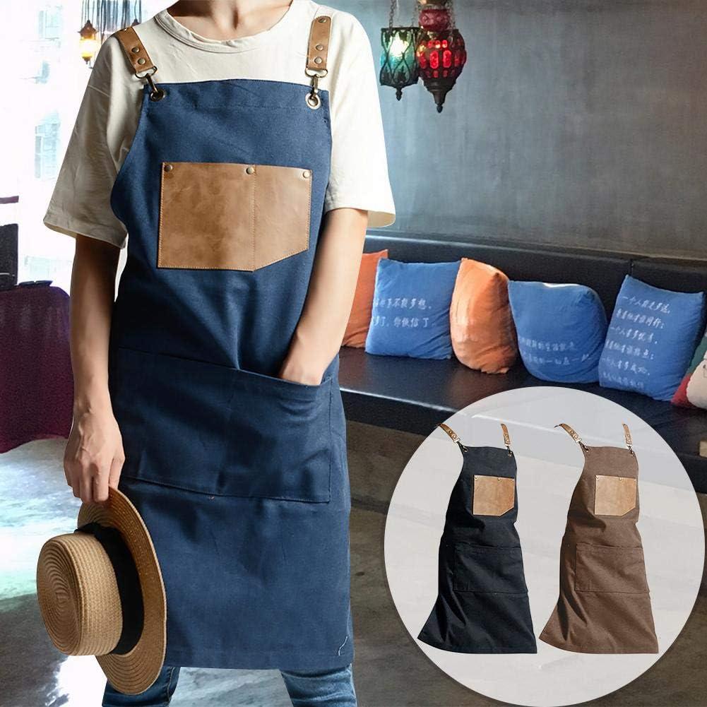 Unisex Washed Work Sch/ürze Professional f/ür Shop Artist Caf/é Restaurant Barista Multifunktionstaschen Verstellbarer Umh/ängeband