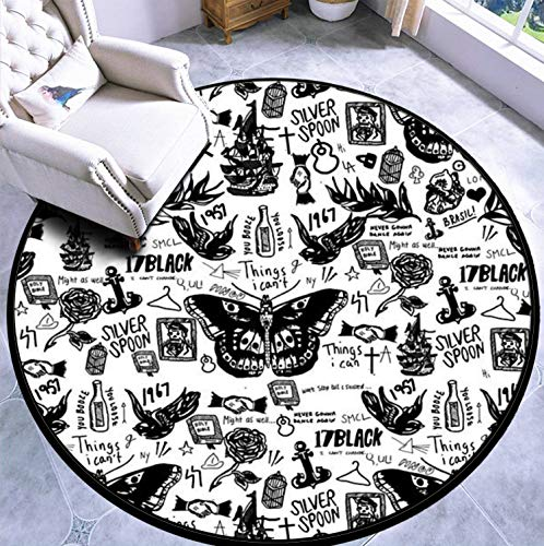 Round Area Rug Kids Carpet Playmat Non-Slip Throw Runner Rug Harry All Tattoos Indoor Floor Carpet Door Mat for Bedroom Living Room Home Decor