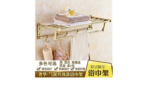 De lujo de estilo europeo soporte Gold baño baño espesada doblar toallas, toallas, baño hardware: Amazon.es: Hogar