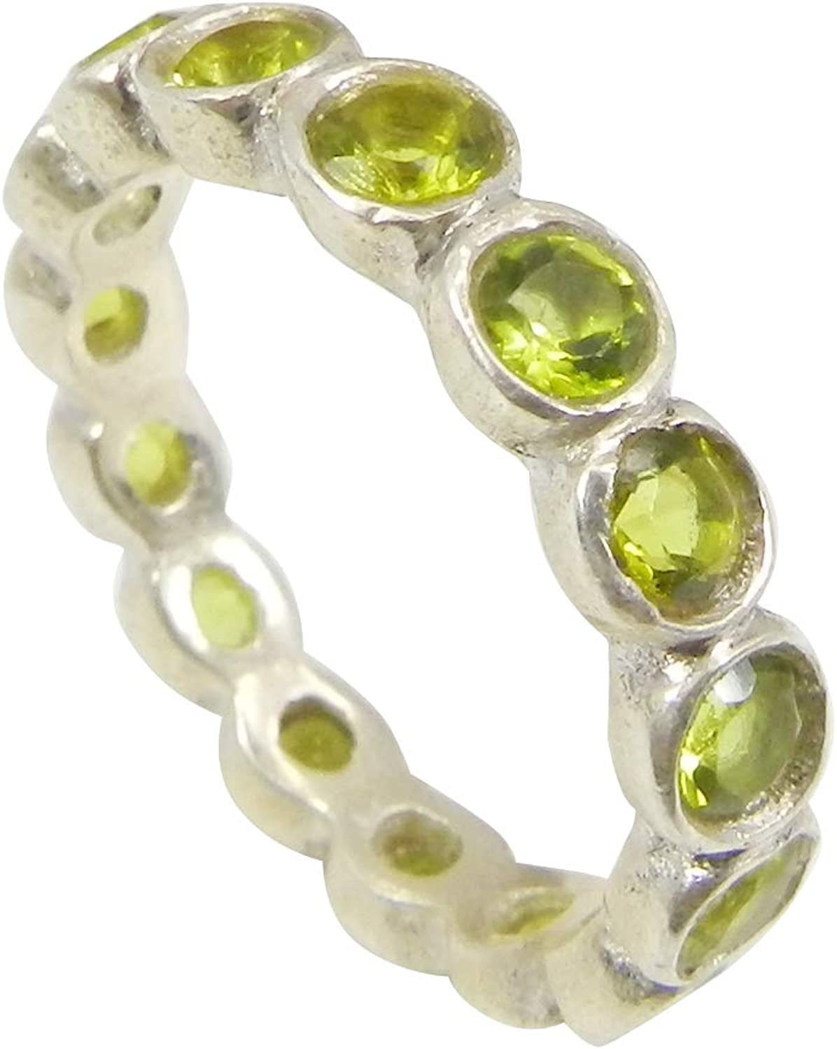 Shilpi Impex 925 Sterling Silver Stackable Bezel Set Eternity Peridot Gemstone Ring Jewelry