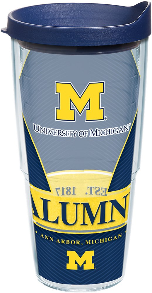 Tervis 1223713 Michigan Wolverines Alumni Tumbler with Wrap and Navy Lid 24oz, Clear