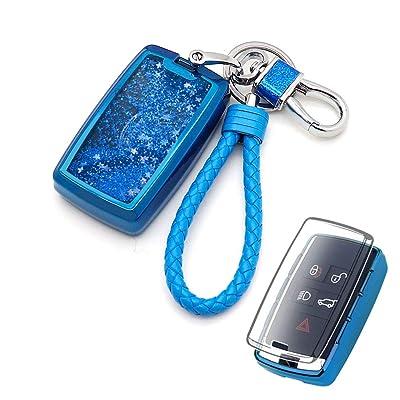 Senauto Quicksand Key Fob Cover Case Keychain for 2020 2020 Land Rover Range Rover Sport Evoque Velar Discovery 5 & Jaguar E-PACE I-PACE (Blue): Automotive