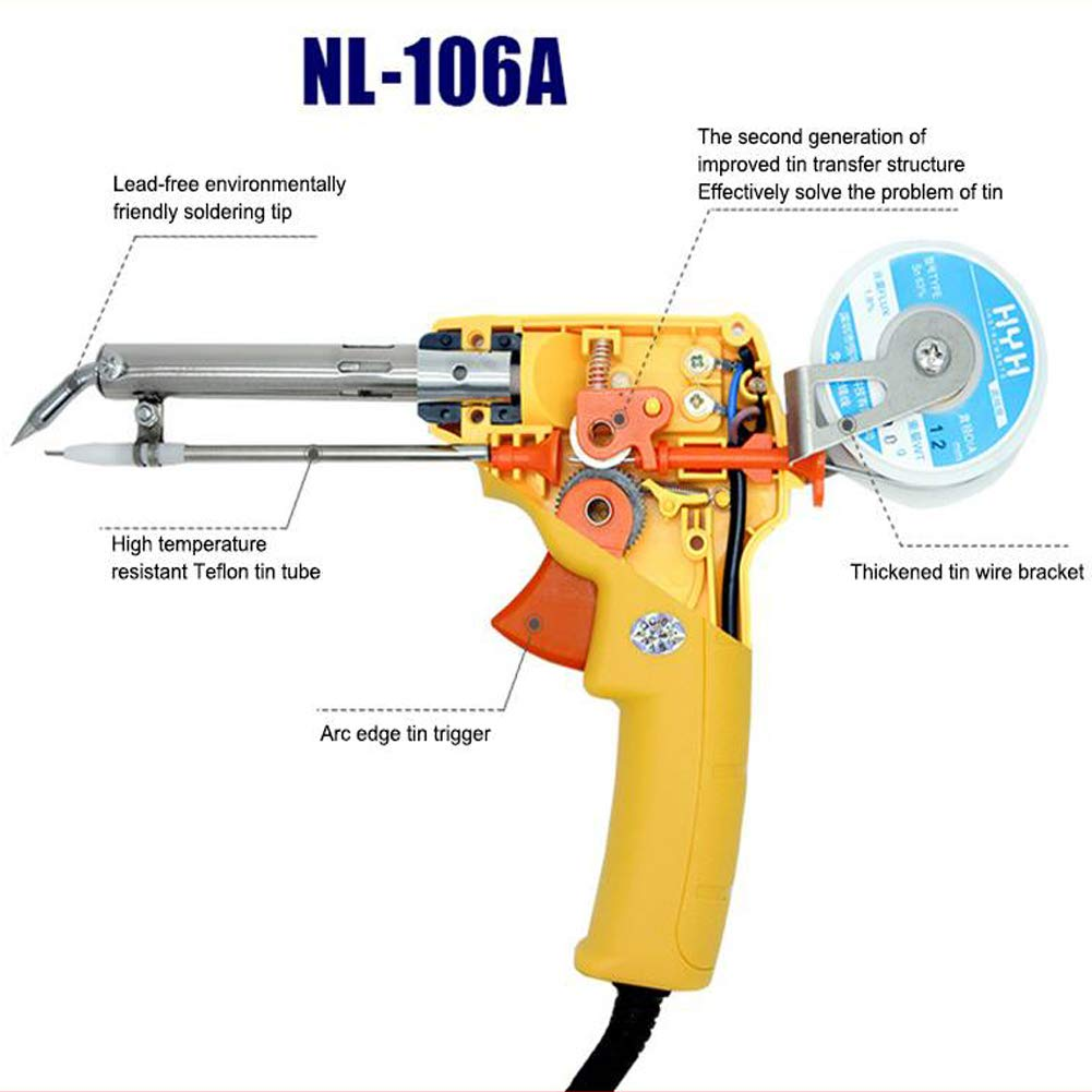 Wecando NL - 110V/106A Manual Soldering Gun 60W One-Hand Lead Universal Soldering Gun Kit (Yellow) by Wecando (Image #2)