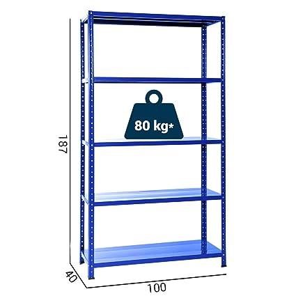 Scaffali Metallici In Kit.Grima Kit F1bu51 Scaffale Metallico Blu Cm 100 X 40 X 185h