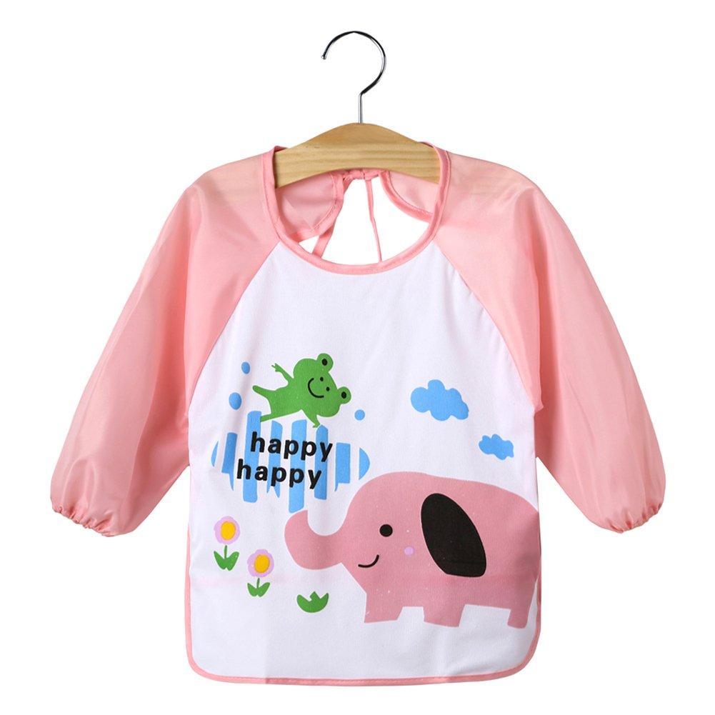 TTnight Baby Bibs Smock, Cute Cartoon Long Sleeve Waterproof Apron Over-cloth Self Feeding Care for Kids Child Toddler