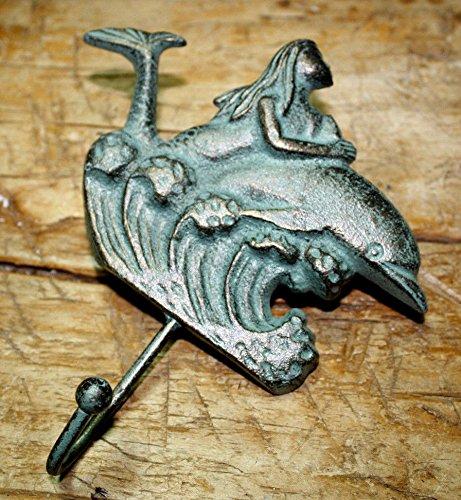 Vintage Antique Hooks Cast Iron Mermaid on Dolphin Towel Hooks Hat Rack Nautical Swimming Pool Hook