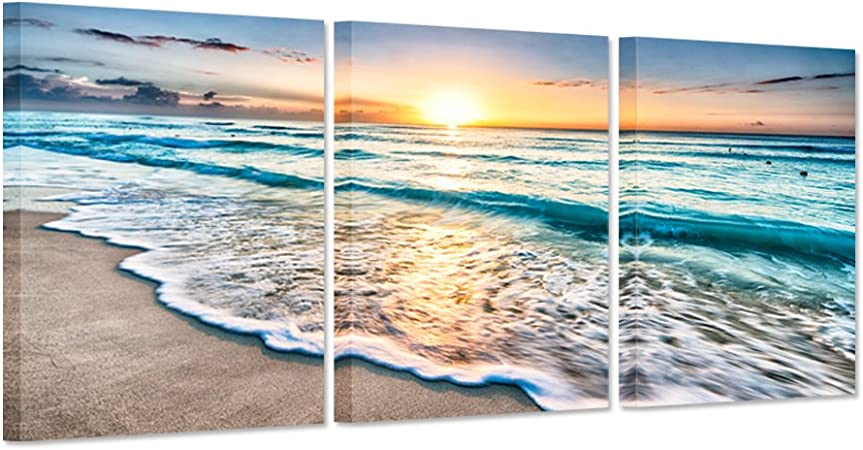 Amazon Com Ihappywall 3 Pieces Canvas Art Prints Blue Sea Sunset White Beach Painting The Picture Print On Canvas Beach Seascape In Cancun Mexico Wall Art Framed For Living Room Posters Prints