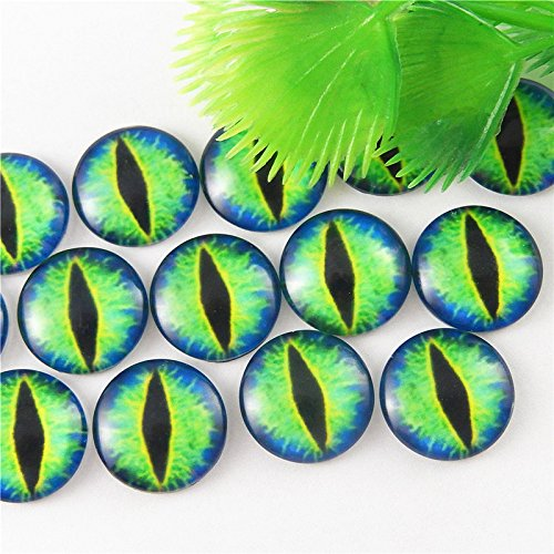 JulieWang 30PCS Lizard Frog Dragon Eyes Round time gem Glass Cabochon Dome Cover Accessory - Gem Frog