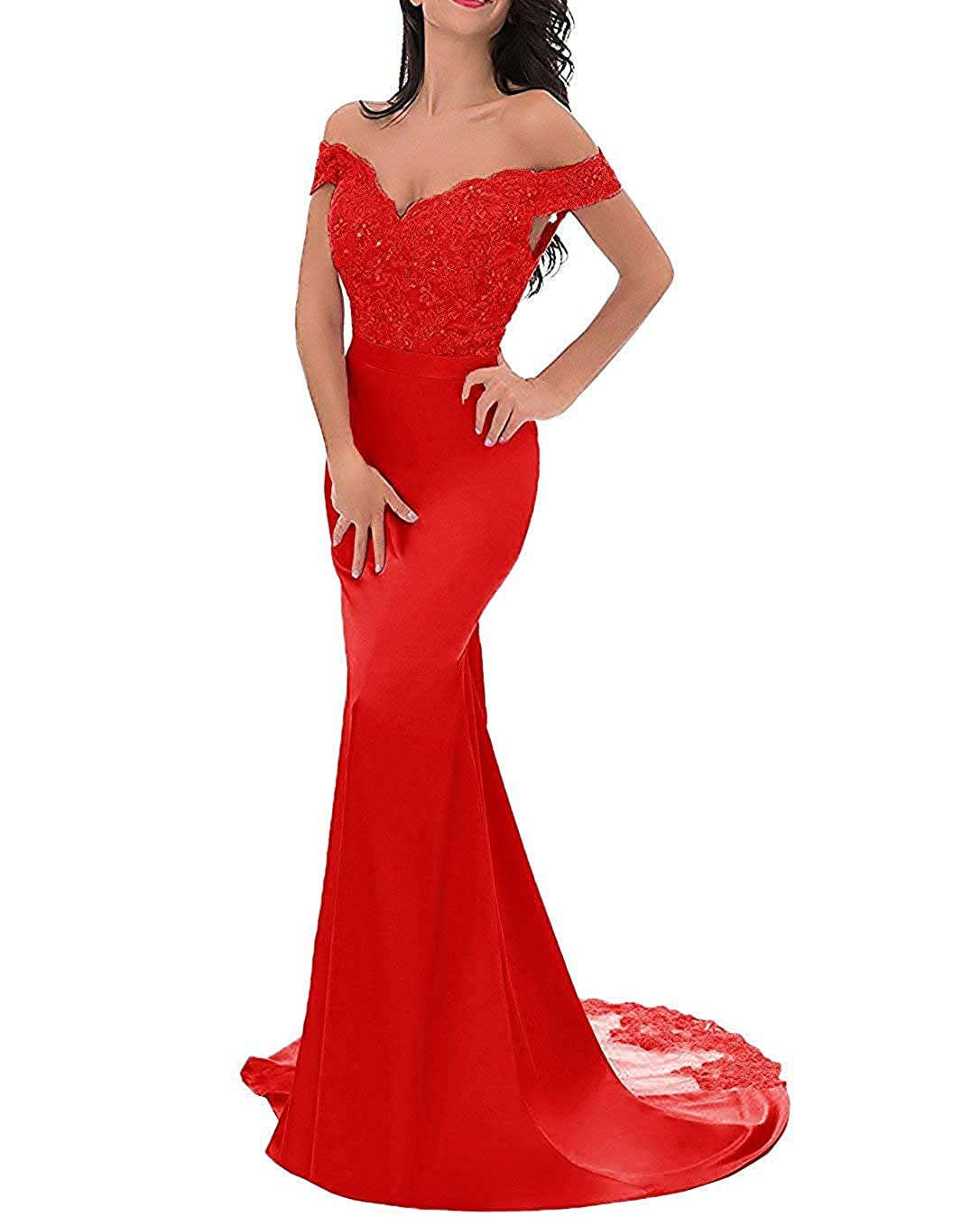 Red PearlBridal VNeck Off Shoulder Mermaid Bridesmaid Dresses Lace Long Evening Formal Gown