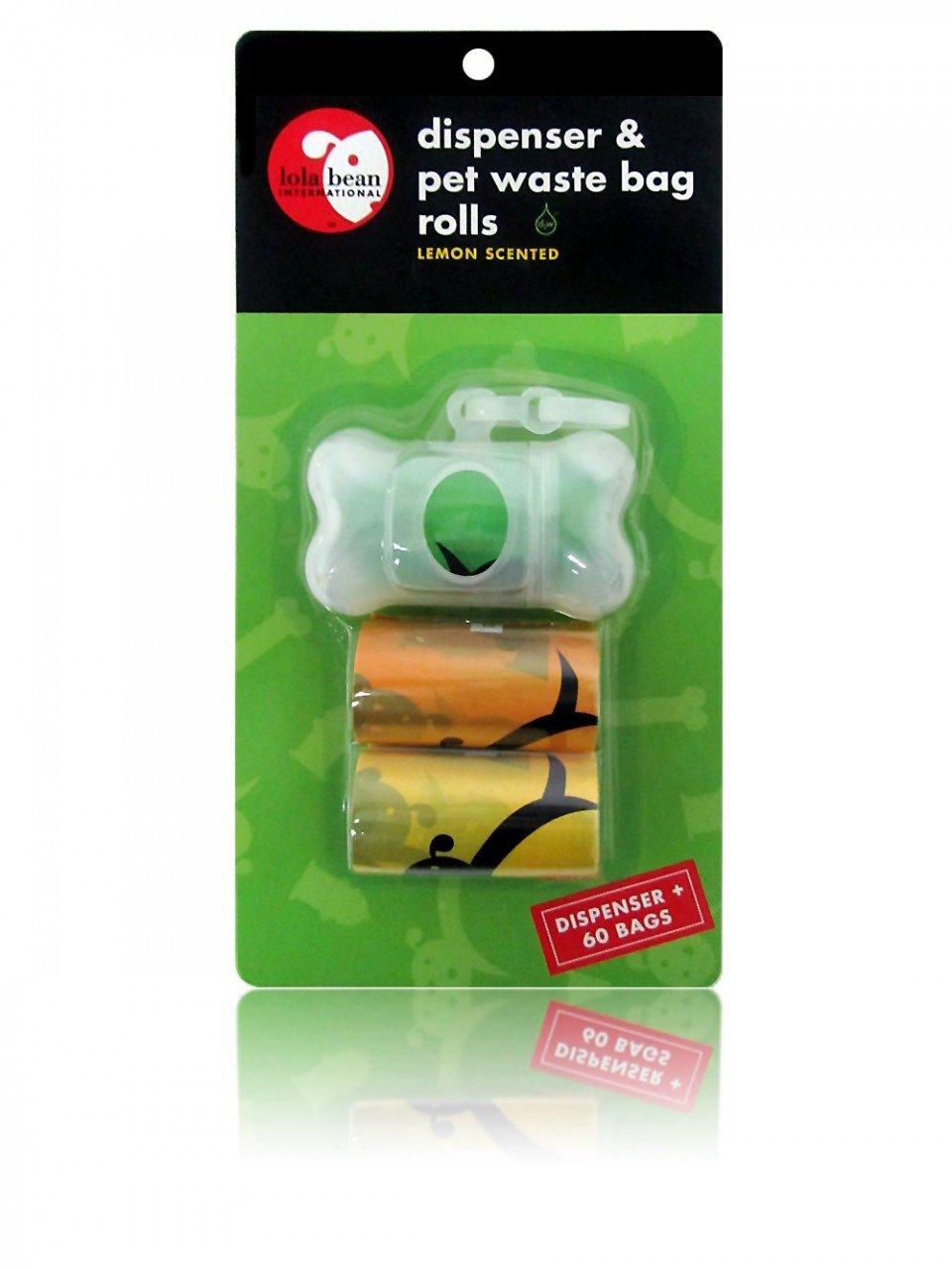 Lola Bean International Transparent Bone Shape Dispenser and Waste Pick Up Bags, Lemon Scented, 60 Count