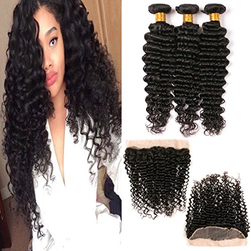 Mink Deep Wave with Frontal Ear to Ear Lace Closure Brazilian Deep Curly Weave Extensions Long Virgin Human Hair 3 Bundles Frontals Natural Color Hair 20 22 24 + 18 Inches