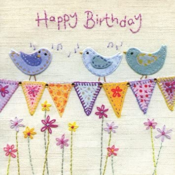 Hand Finished Birds And Bunting Birthday Card Amazon Office