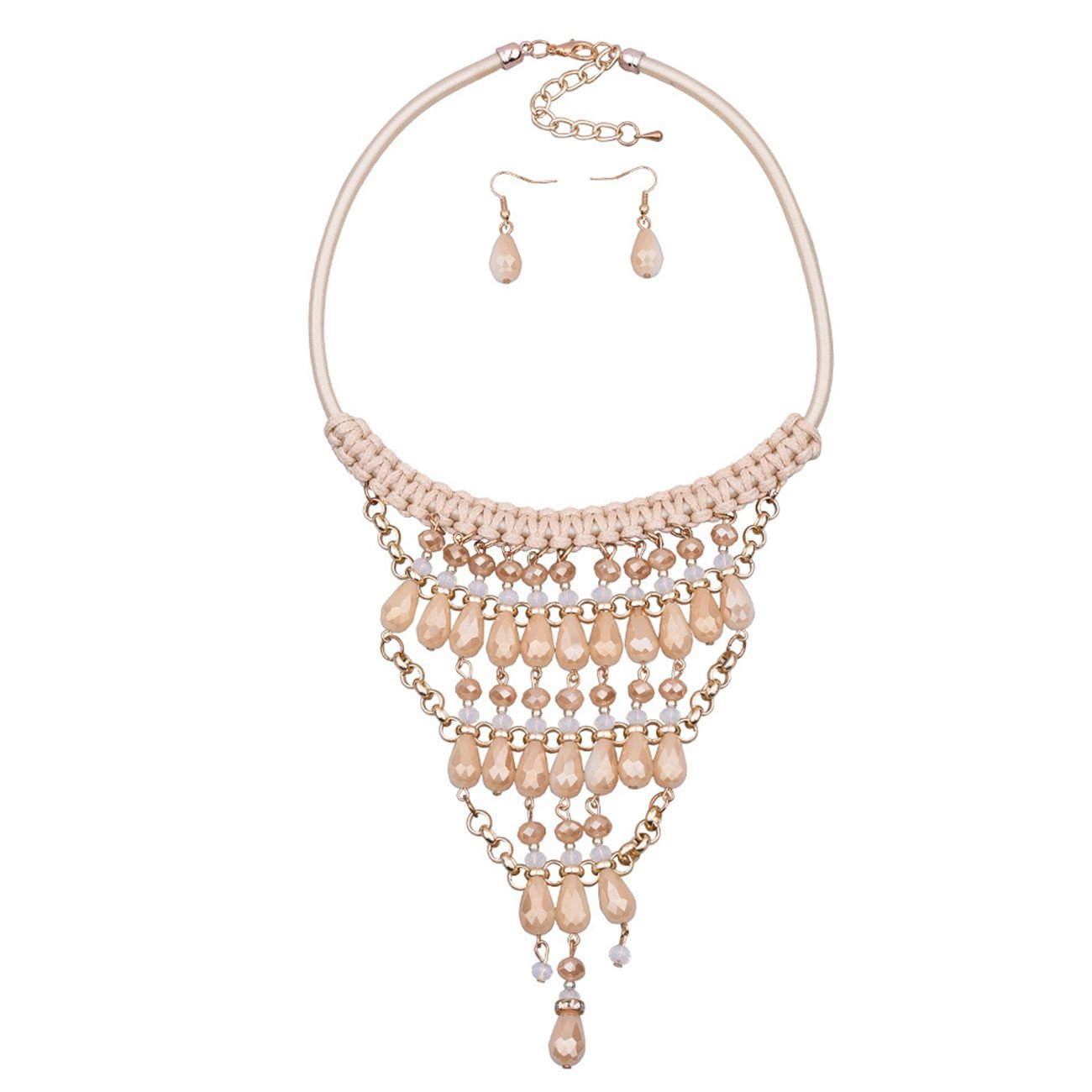 LOHOME Womens Fashion Necklaces Multi-level Beads Charm Necklace Earrings Set Collar Bib for Women