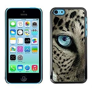 Caucho caso de Shell duro de la cubierta de accesorios de protección BY RAYDREAMMM - Apple iPhone 5C - Black Spots Blue Eye Cat