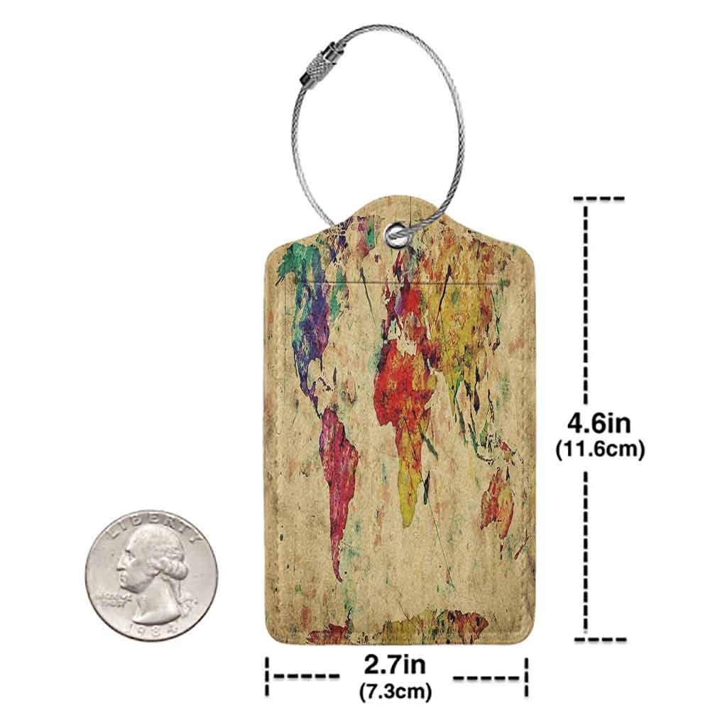 Printed luggage tag Retro Vintage World Map on Grunge Backdrop with Colored Continents Artsy Atlas Chart Image Protect personal privacy Multicolor W2.7 x L4.6