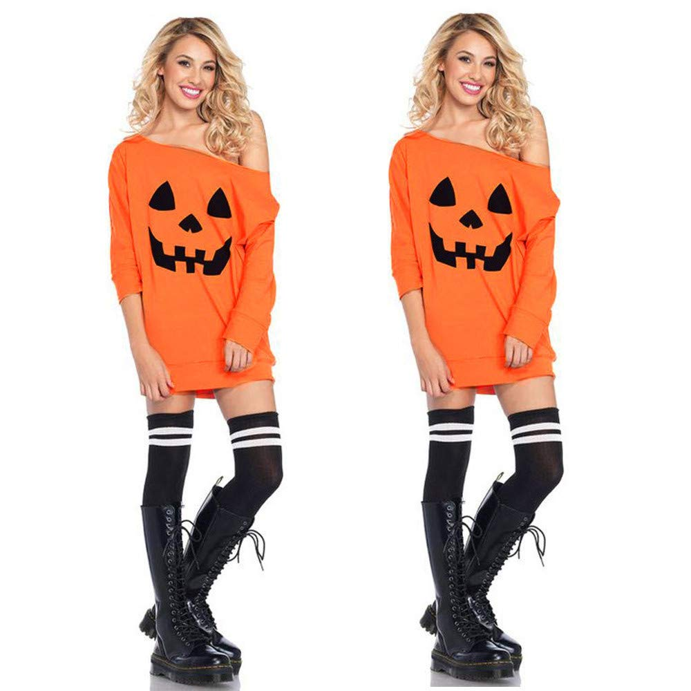 OWMEOT Women Dress, Women Halloween Pumpkin Skull Christmas Print Long Sleeve Party Swing Mini Dress (Orange A, S)