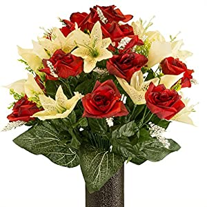 Red Rose and Cream Tiger Lily mix, Artificial Bouquet, featuring the Stay-In-The-Vase Design(c) Flower Holder (MD2070) 105