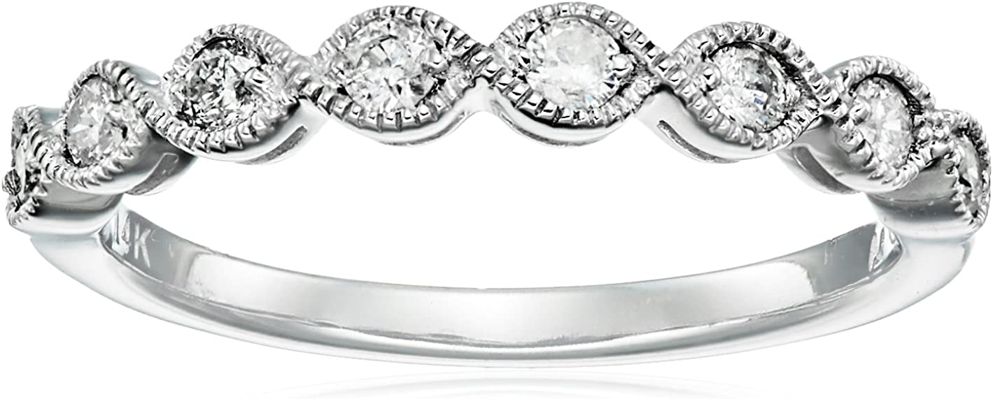 14k White Gold Milgrain Diamond Band (1/4 cttw, IJ Color, I2-I3 Clarity) Bands Amazon Collection B005Q7AC6O