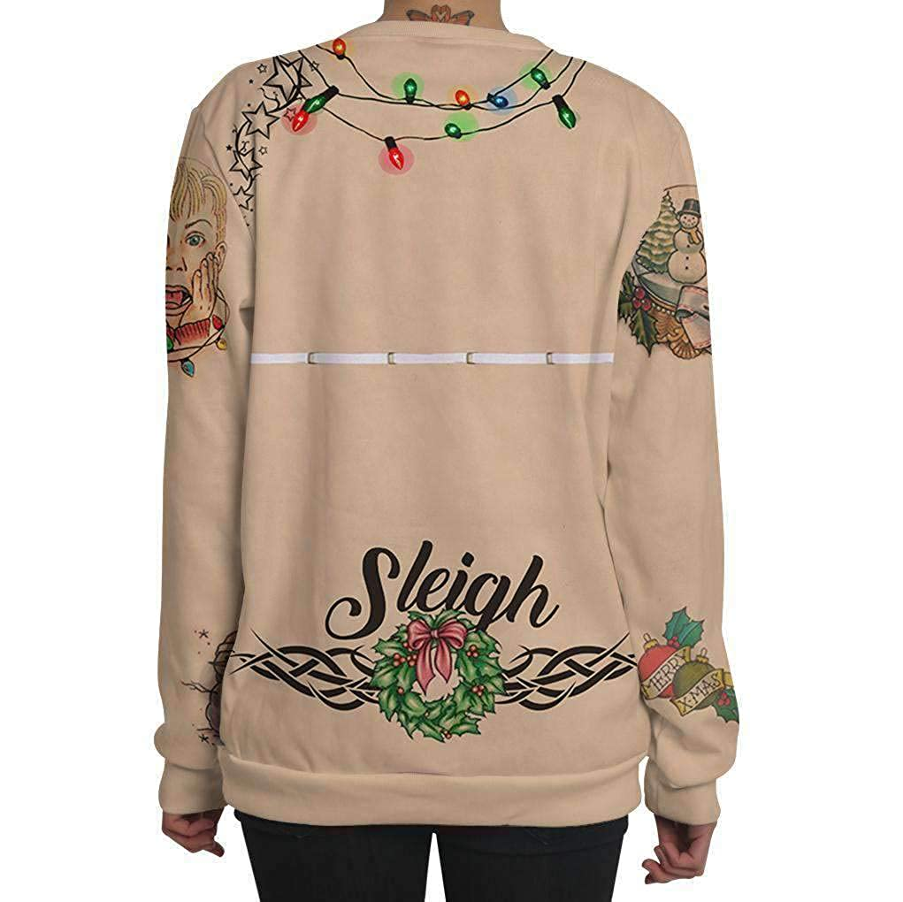 HDLTE Women Christmas Sweatshirt Digital Printed Letter Print Crew Neck Casual Graphic Shirts