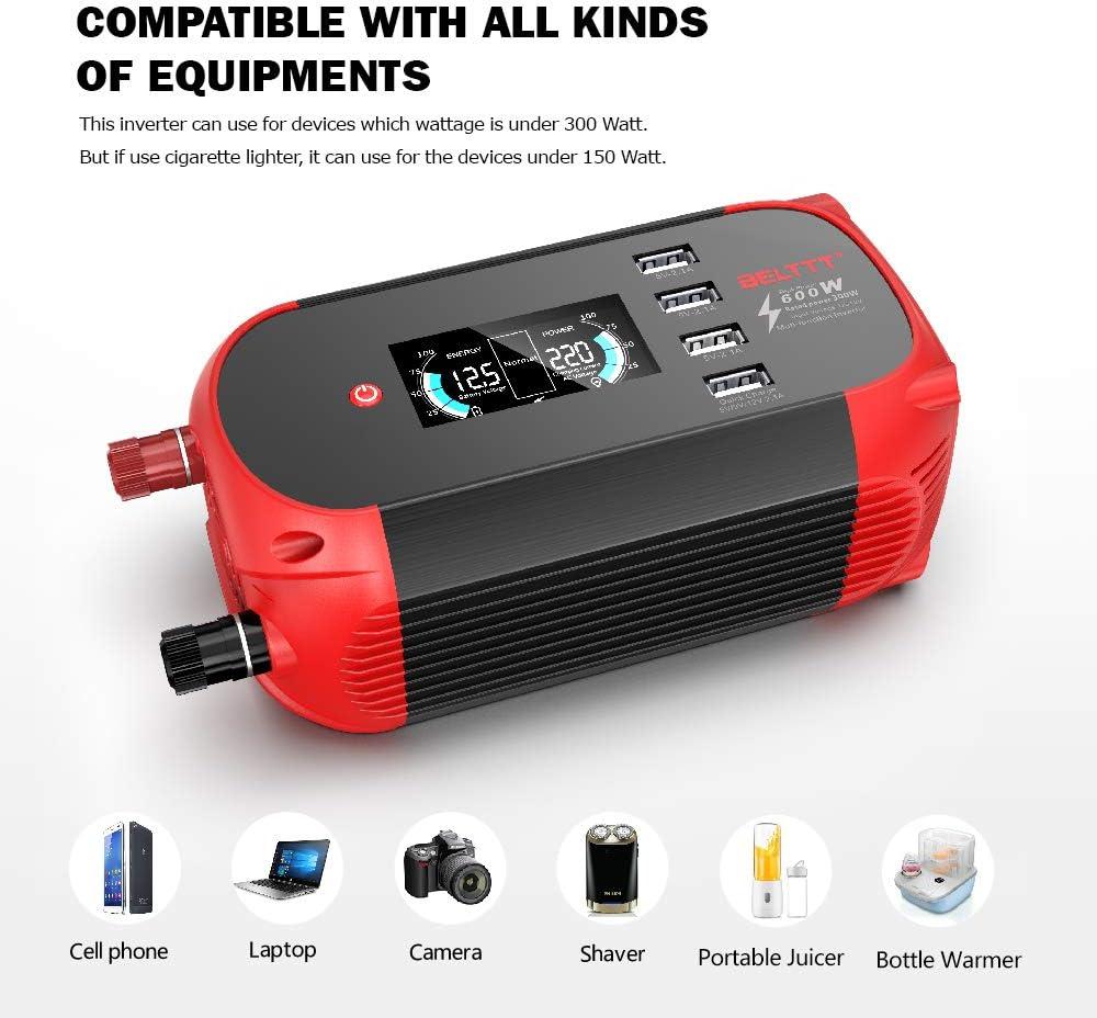 BELTTT 300W Car Power Inverter DC 12V to 110V AC Converter with ...
