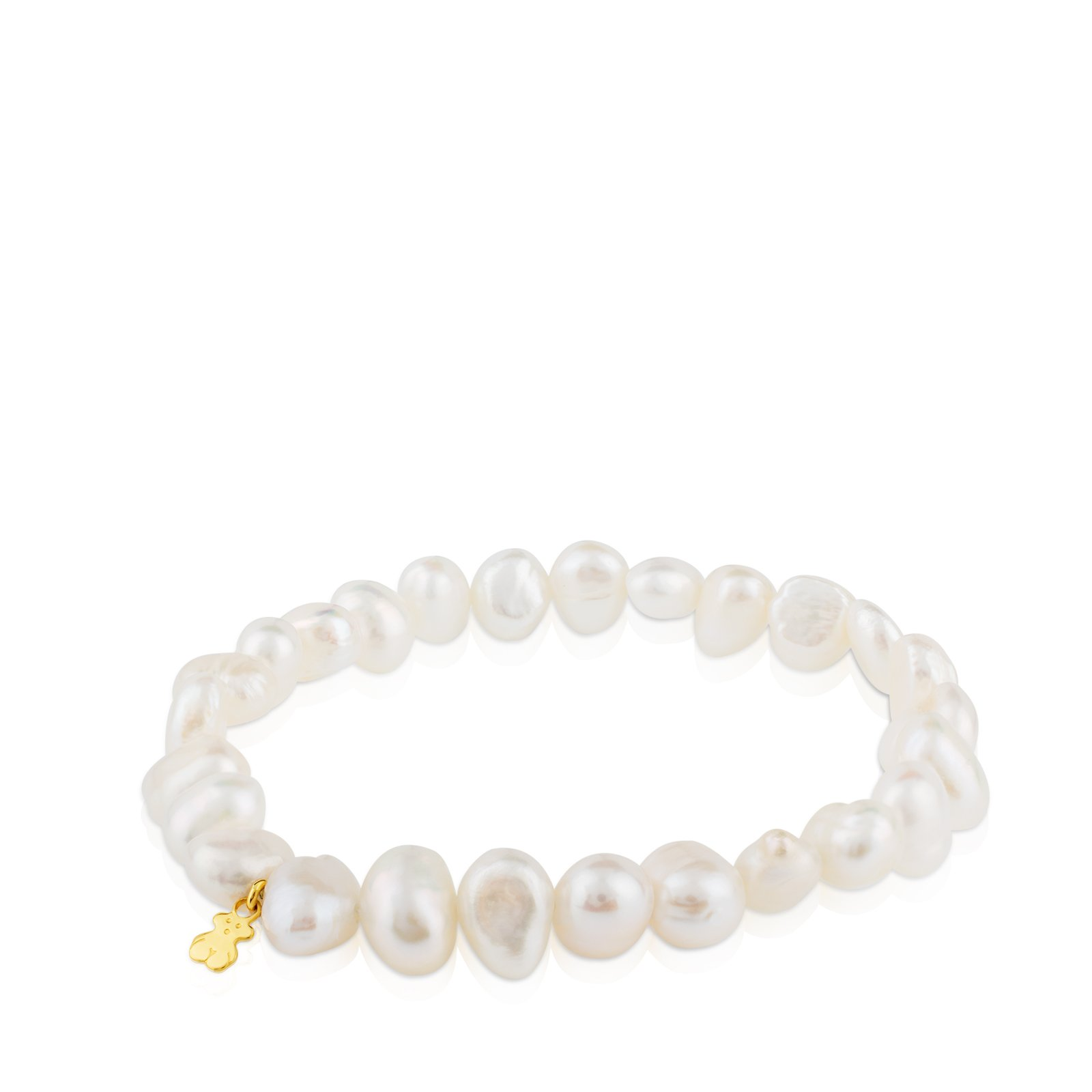 TOUS Sweet Dolls 18k Yellow-Gold Stretch Bracelet with White Chinese-Freshwater-Cultured Pearl 7.0-7.5 mm by TOUS