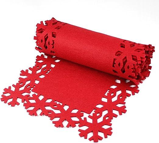 eBuyGB Festive Camino de Mesa de Navidad, Fieltro, Rojo, 31,6 x 10 ...