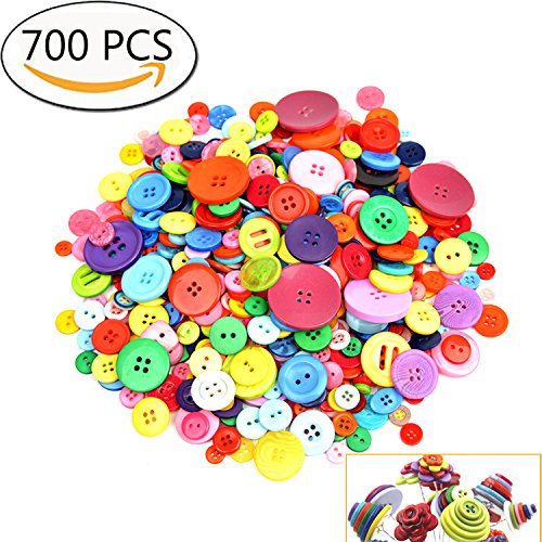 700 Pcs Assorted Mixed Color Resin Buttons 2 And 4 Holes Round Craft For Sewing Diy Crafts Childrens Manual Button Painting Diy Handmade Ornament