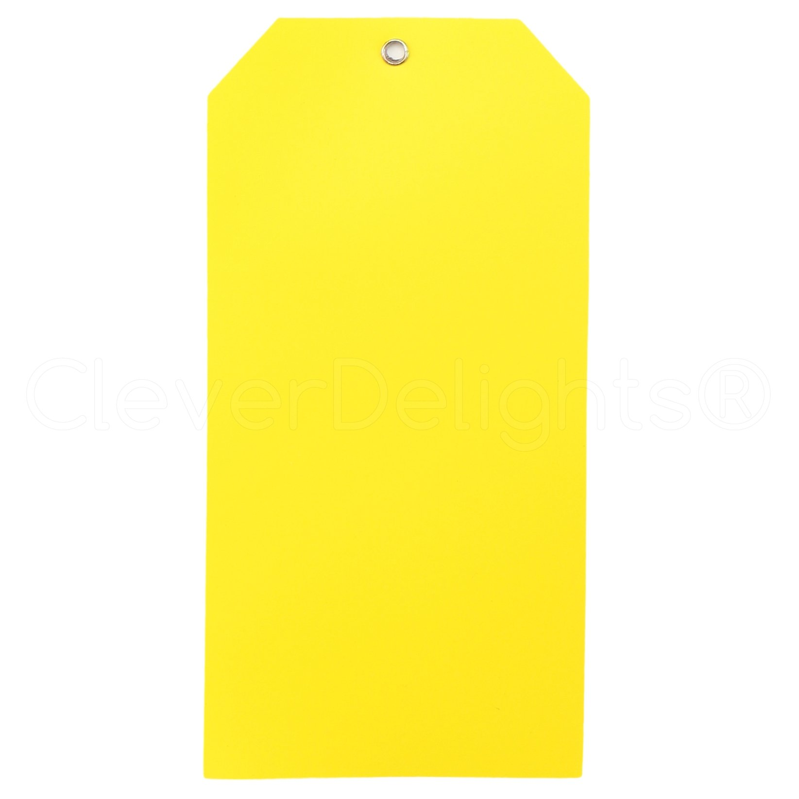 100 Pack - CleverDelights Large Yellow Plastic Tags - 6.25'' x 3.125'' - Tear-Proof and Waterproof - Inventory Asset Identification Price Tags