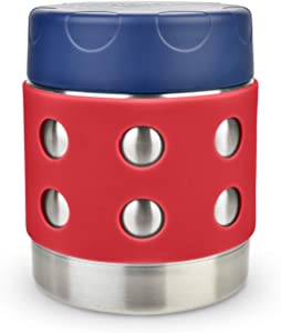 LunchBots Thermal 8 oz Triple Insulated Food Container - Hot 6 Hours or Cold 12 Hours - Leak Proof Thermos Soup Jar - All Stainless Interior - Navy Lid - Red Dots