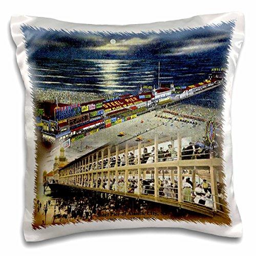 (3dRose Steel Pier of Atlantic City, NJ (Vintage 1911-1918) - Pillow Case, 16 by 16-inch (pc_47336_1))