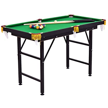Costzon 47u0026quot; Folding Billiard Table, Pool Game Table Includes Cues,  Triangle, Chalk